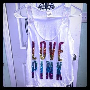 VS PINK rainbow bling tank top